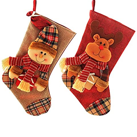 Yimmi 2 sets Christmas Stockings Hanging Candy Gifts Bag for