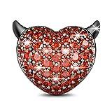 GNOCE Devil Herz Charm Granat Charm Beads 925Sterling Silber Charms für Armband und Halskette Tolles Geschenk