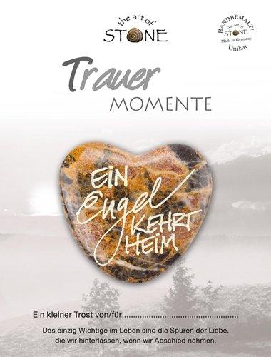 The Art of Stone Trauer Momente Marmorsteinherz EIN Engel kehrt heim Unikat - Hand beschriftet Trauerbegleiter Trost Grabbeigabe