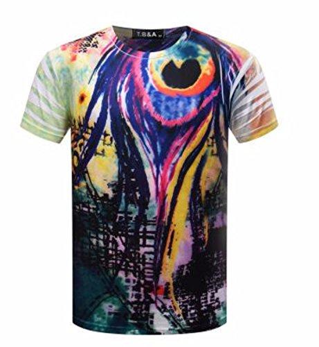 Men's 3D Printed O Neck Short Sleeve Tee Shirt chart color 15