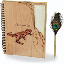 Giftgarden Hardback Spiral Notebook B5 Ruled 120 Pages with One Peacock Feather Ballpoint Pen