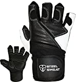Steel Sweat Weightlifting Gloves with 18-inch Wrist Wrap Support for Workout, Gym and Fitness Training - Best for Men and Women Who Love Weight Lifting - Leather ZED Black Large