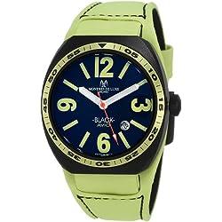 Montres De Luxe Herren BK2503 Avio Aluminium schwarz PVD Grün Lederarmband Uhr