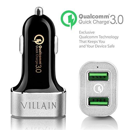 [Quick Charge 3.0] villano rápida USB cargador de coche con dual Smart puertos-Qualcomm Quick Charge 3.0tecnología-36W USB cargador de coche para Samsung, LG, HTC, iphone, ipad, GPS, Dash Cam y Más