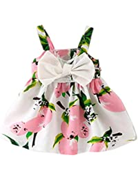 Robes Bébé Fille 0-24M, Bonjouree Robes à Fleurs de Princesse Sans Manches Pour Enfant Filles