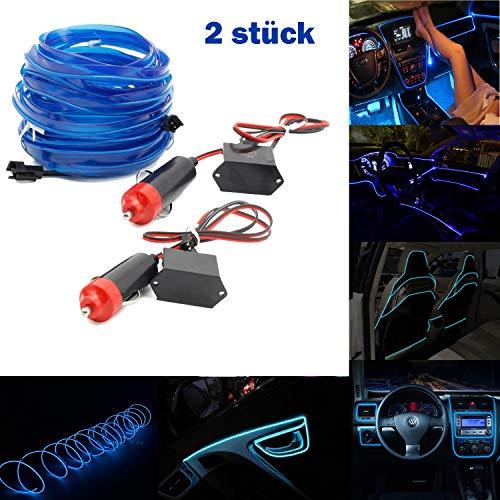 Forever Speed EL Wire Neon EL Ambiente Illuminazione Abitacolo non illuminazione luce di striscia LED lunghezza 1/2/3 m con 12 V inventer per auto, 2 X 1M, Blau, 1