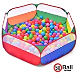 #9: VSHINE Ball Pool for Kids Hexagonal Shape ( Large Size) - 50 Balls Included - Colourful Pop-Up Kids PlayTent House - Ball Pit