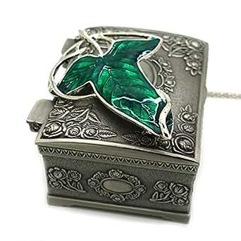 Seigneur du collier pendentif Broche Anneaux Aragorn Feuille Elven vert avec Coffret ¨¤ bijoux, Seigneur des Anneaux Collier, grand cadeau pour le Seigneur des Anneaux fans