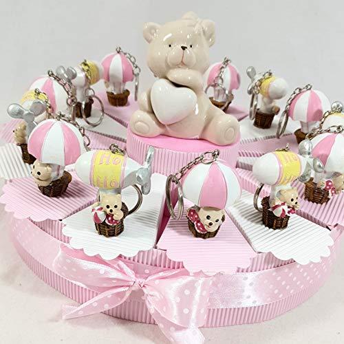 Bomboniere nascita battesimo femmina o maschio a seconda della scelta (torta orsetti mongolfiera e dirigibile portachiavi)