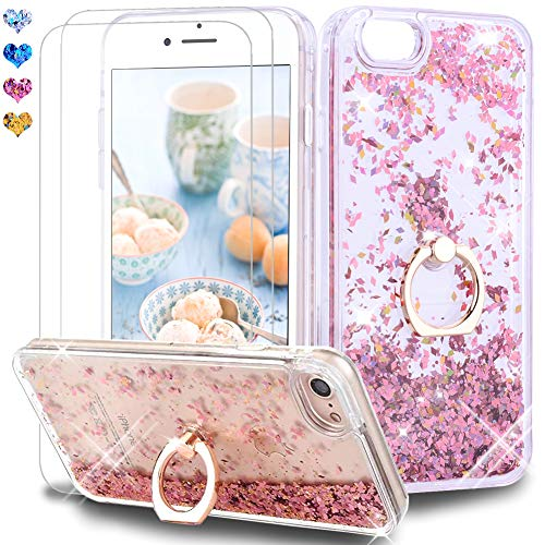 "Price comparison product image Feyten iPhone 8 / iPhone 7 Case with Tempered Glass Screen Protector [2 pack],  Sparkly Glitter Bling Flowing Liquid Floating Case Cover with Kickstand for iPhone 8 / 7 4.7"" (Rose Gold)"