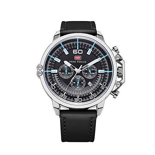 Montre de Sport de Mode pour Hommes - Bracelet Chronographe Chronomètre Calendrier Date 30M Montre à Quartz étanche (Argent)