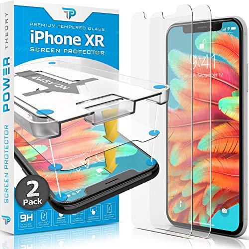 Power Theory Panzerglasfolie kompatibel mit iPhone XR (2 Stück) - Panzerglas Folie mit Schablone, Schutzfolie Screen Protector, Bildschirmschutzfolie