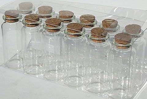 Lot 12 petit flacons en verre avec bouchon en