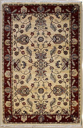 Rugstc 122 x 188 tappeto chobi ziegler realizzato con tinture vegetali con pila in lana - fantasia zeigler chobi   100% originale annodato a mano in bianco, rosso & grigio   tappeto rettangolare 122 x 183 di alta qualità a doppio nodo