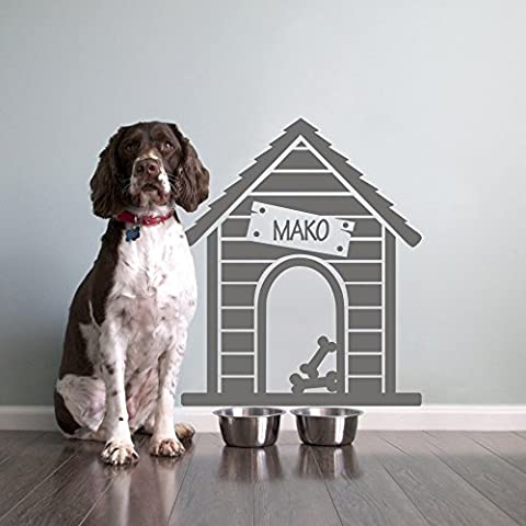 MairGwall Animal House Gift Dog House Art Sticker Personalized Name Sign Vinyl(Medium, Slate Gray)