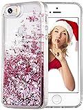wlooo Handyhülle kompatibel mit iPhone SE, iPhone SE/5/5S Glitzer Hülle, Flüssig Treibsand Fließend Glitter Quicksand Transparent Silikon Weich TPU Bumper Original Schutzhülle Case Cover