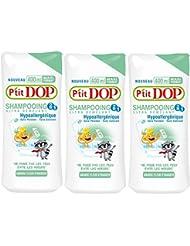 P'tit Dop - Shampooing Ultra Démêlant 2 en 1 Amande-Fleur d'Oranger Au Format Maxi - 400 ml - Lot de 3