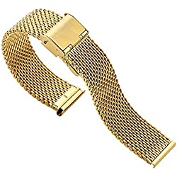 Blenheim London® Classic Mesh 20mm Stainless Steel Watch Gold Plated Strap