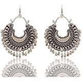 #8: Roops Collexion Silver Oxidized Afghani Ethic and Traditional Earrings for Girls and Women