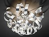Deckenleuchte Deckenlampe Wohnzimmerlampe CURLY III | Aluminum | Chromfarben | ohne Leuchtmittel