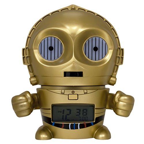 BulbBotz Star Wars 2021418 C3PO Kinder-Wecker mit Nachtlicht und typischem Geräusch , gold/gelb, Kunststoff , 14 cm hoch , LCD-Display , Junge/ Mädchen , offiziell