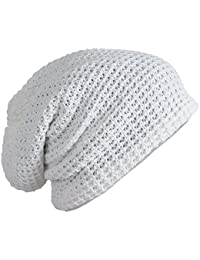 Mens Cap - SODIAL(R) Mens Slouchy Long Beanie Knit Cap for Summer Winter Oversize white