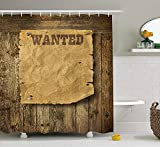 XIAOYI Western Shower Curtain, Old Wooden Texture Background with Vintage Wanted Poster Sign Wild West Print, Fabric Bathroom Decor Set with Hooks, 60 x 72 Inches, Caramel Brown