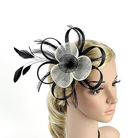 Frcolor Pince à Cheveux Plume Fascinator Chapeau Femmes Mariage Mariée Broche Fleur Corsage (Noir + Blanc)