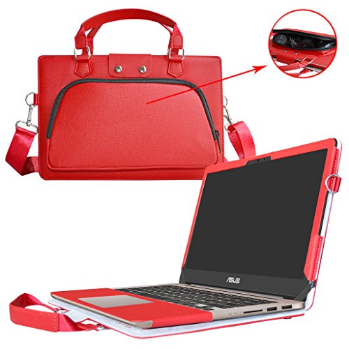 Asus UX310UA UX310UQ Hülle,2 in 1 Spezielles Design eine PU Leder Schutzhülle + portable Laptoptasche für 13.3' Asus Zenbook UX310UA UX310UQ Series Notebook,Rot