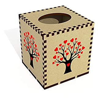 Azeeda Square 'Heart Tree' Wooden Tissue Box Cover (TB00036900)
