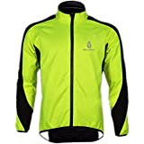 WOLFBIKE Fleece Thermal Cycling Long Sleeve Jersey Winter Outdoor Sports Jacket Windproof Wind Coat Bicycle Cycle Wear Clothing Fluorescent Green