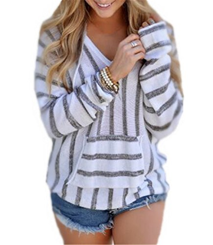 Haililais Femmes Col V Loose RayÉ University Pull à Capuche Hoodie Sweat-shirt Automne Manche Longue Sweatshirt Pullover Avec Poche gray
