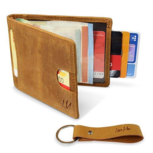 LIONSMEN Premium Kreditkartenetui mit Geldklammer aus echtem Rindsleder - Slim Wallet ohne Münzfach - Kartenetui mit RFID Schutz & extra Schlüsselanhänger (Hell-Braun) (Slim Wallet-mit Münzfach)