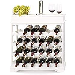 Botellero de Madera para 24 Botellas de Vino con bandeja apilable de 4 Niveles, 70 x 22.5 x 70 cm