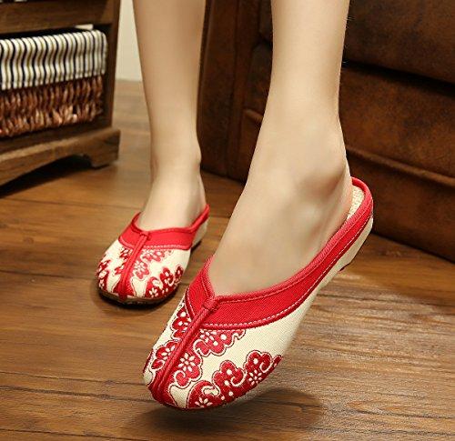 GXS Blaues und weißes Porzellan Gestickte Schuhe, Sehnensohle, ethnischer Stil, weiblicher Flip Flop, Mode, bequem, Sandalen Red