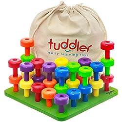 Tuddler Paquete Educativo Pegs Incluye un Set de Clavijas Apilables de Colores Brillantes / Juguete Montessori para Niños + Tarjeta de Patrón + Mochila con Cordón para almacenar y ordenar + ebook