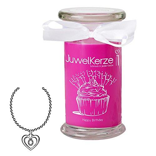 JuwelKerze Happy Birthday - Duftkerze im Glas Groß mit Schmuck Überraschung - Geschenkidee für Frauen (925 Sterling Silber Halskette & Anhänger, Duft nach Karamell und Cupcake)