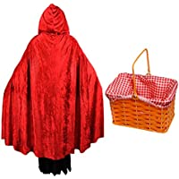 DELUXE HOODED RED VELOUR CAPE   WICKER BASKET WITH RED COTTON CLOTH - RED  RIDING HOOD 21c97bd71ff8