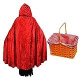 Déguisement du petit chaperon qui se promène dans les bois avec une cape en velour rouge + un petit panier à carreaux pour adulte. Ideal pour les enterrements de vie de jeune fille ou les fêtes d'Halloween.