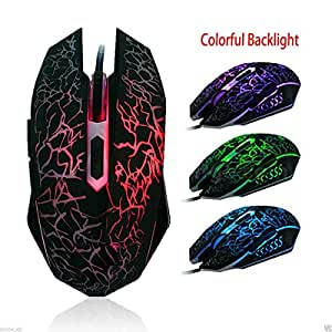 Protokart USB Wired Optical Gaming Mice Mouse, 7 Automatic Colour Changing Backlight for PC Laptop Computer, 1200 DPI Mouse