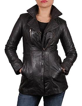 Brandslock mujeres piel de oveja larga chaqueta de cuero real