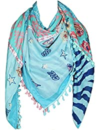 Mevina Damen XXL Schal Stern Blumen Schmetterling Glitzer Pailletten Muster mit Bommeln groß quadratisch Tuch Halstuch Oversized Premium Qualität