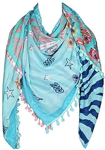 Mevina Damen XXL Schal Stern Blumen Schmetterling Glitzer Pailletten Muster mit Bommeln groß quadratisch Tuch Halstuch Oversized Blau T2433