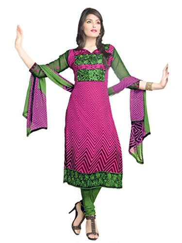 ZANA'S Pakistani Style Pink & Green Color Georgette Dress Material