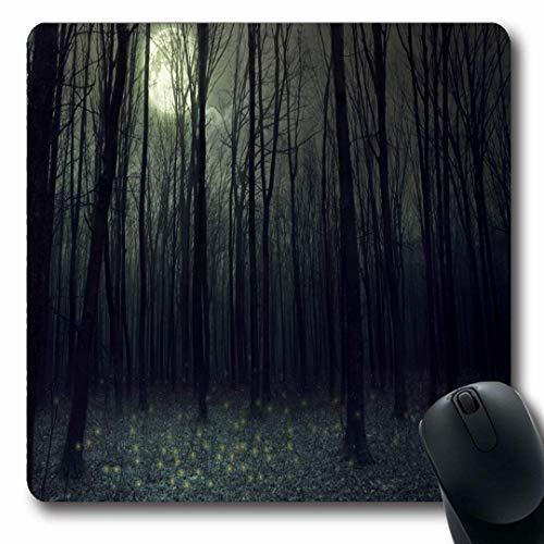 Dunklen Himmel Ein Licht (Luancrop Mousepads Volle Blaue Nachtmond-Licht-Dunkelheit-Herbst-Wald-Holz-Natur-dunkler schlechter Himmel-Schwarz-Entwurfs-Furcht-rutschfeste Spiel-Mausunterlage Gummi-längliche Matte)