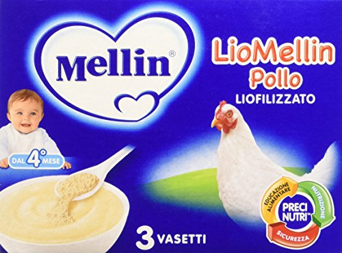 Mellin LioMellin Liofilizzati per Bambini, al Gusto Pollo - 3 Vasetti da 10 gr - Totale 30 gr