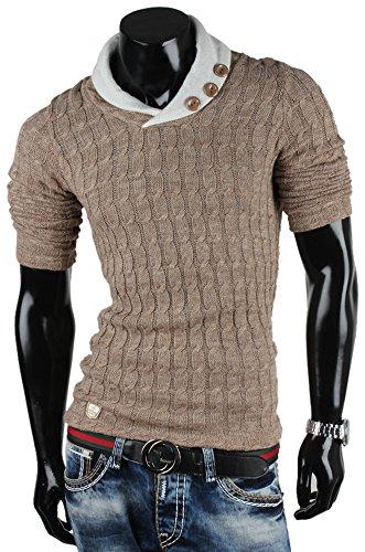 emimay Pull tricot large pour homme veste en tricot à capuche Marron - Bison