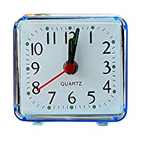 SIRIGOGO Non Ticking Analog Alarm Clock with Nightlight and Snooze/Ascending Sound Alarm/Simple to Set Clocks, Battery Powered, Small (Blue)
