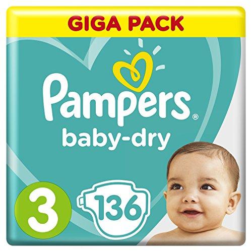 Pampers Baby-Dry Windeln Größe3 (6–10kg), Luftkanäle für atmungsaktive Trockenheit die ganze Nacht, Giga Pack, 1er Pack (1 x 136 Stück)