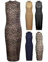 Womens Ladies Sleeveless Animal Glitter Polo Turtle Neck Midi Long Bodycon Dress (M/L (UK 12/14), Animal)